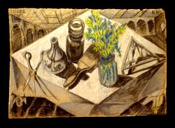 Sketch for a Still life with scissors